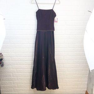 Betsy & Adam long purple beaded sleeveless dress